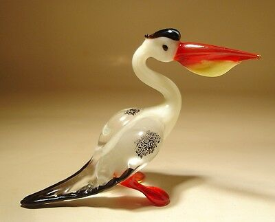 "Blown Glass Figurine ""Murano"" Art White Bird PELICAN"