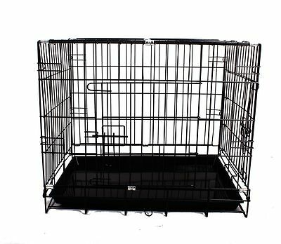 "24"" 30"" 36"" 42"" 48"" Pet Dog Cage Collapsible Metal Crate Kennel Cat Rabbit Fold"