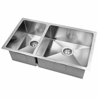 Cefito 715x450mm 304 Stainless Steel Kitchen Sink Under/Topmount Double Bowl