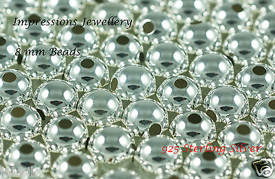 10 PCS x 925 Sterling Silver 8mm beads