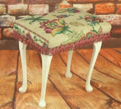 Vintage White Piano Stool with Carved Cabriole Legs - FREE Delivery [PL1924] • £119.00