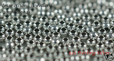 925 Sterling Silver Rhodium Plated 2mm beads 100 Pcs