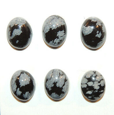 Snowflake Obsidian Cabochon 10x8mm with 4mm dome set of 6 (10000)