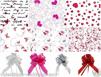 Valentines Day Heart Rose Cellophane Wrap Bow Film Floral Bouquet Hamper Gift 2m
