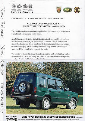 Land Rover Discovery Goodwood Limited Edition Press Release/Photo - 1996
