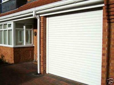Electric, remote control, white roller shutter garage door  - made to measure