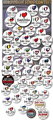 """Eurovision Song Contest Party Badges/Great Eurovision Sweepstake 2~ 25 Mm/ 1 """""""