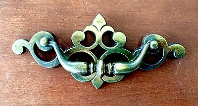 "Vintage Brass Furniture Pull ""GORGEOUS"" Screw Holes 4 3/4"" Apart Attached Bail"