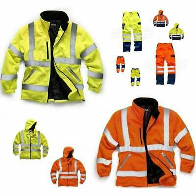 HI VIS VIZ SAFETY WORK WEAR Joggers Hoodie Fleece Polycotton Trousers Jacket