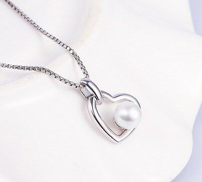 """925 Sterling Silver Freshwater Pearl Heart Pendant Necklace 18"""" Chain Gift L31"""