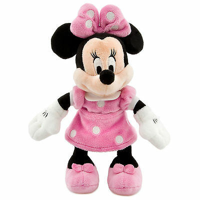 """Disney Parks Minnie Mouse Pink Polka Dot Plush Toy 9"""" Soft Doll Girls Gift NEW"""
