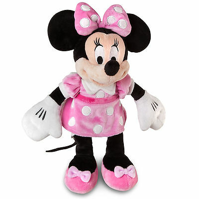 """Disney Authentic Patch Pink Dress Minnie Mouse Polka Dot Plush Toy 14"""" Gift NEW"""