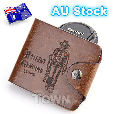 Genuine Leather Cowhide Mens Wallet Brown Business Credit Card Holder Stylish