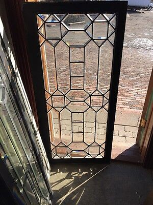 Sg 444 Beautiful Antique All Beveled Glass Landing Window