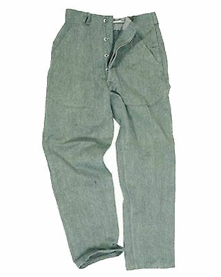 Genuine Swiss Army Grey Cotton Trousers Tough Denim Work Pants GRADE 1 or 2