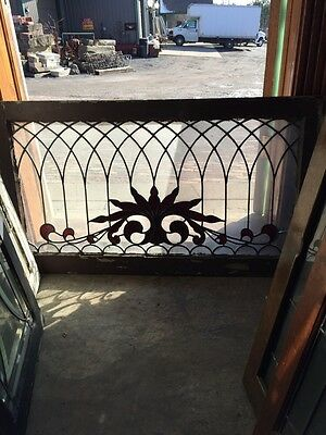 SG 445 Antique Transom Glass Window Hot Red Design