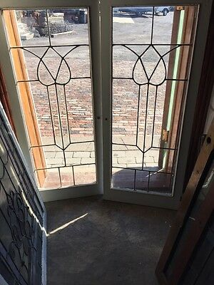 Sg 448 Matched Pair Antique Beveled And Leaded Glass Windows