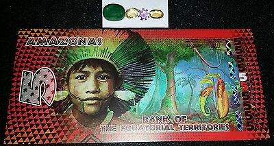 Amazonas 5 Equatorial Francs,2014+ 1 natural EMERALD + 3 BONUS GEMS!