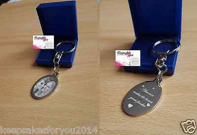 Personalised Photo Image and text Engraved Oval Keyring - Valentines Gift