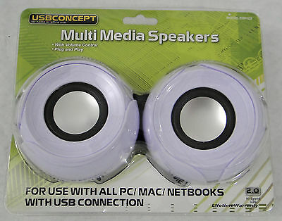 USBConcept Multi Media Stereo Speakers, with built in volume controll, NEW