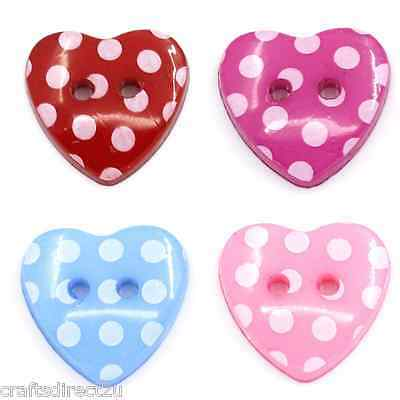 50 Resin Buttons - POLKA DOT - HEARTS - Scrapbooking - Crafting - Sewing