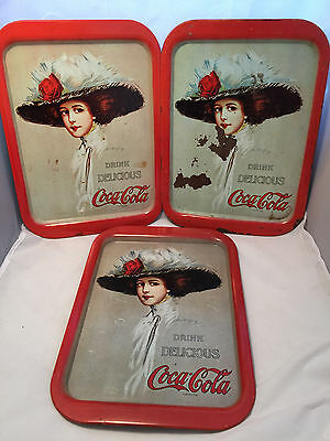 "Lot of 3 Coca-Cola 1909 Hamilton King trays remade in 1971 Measure 15"" x 11"""