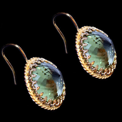 Earrings/Hook Earrings with Green Quartz, Yellow Gold from 925 Sterling Silver