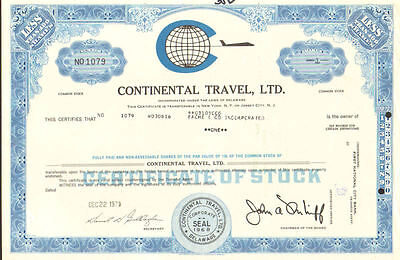 Continental Travel, Ltd. > 1970 stock certificate