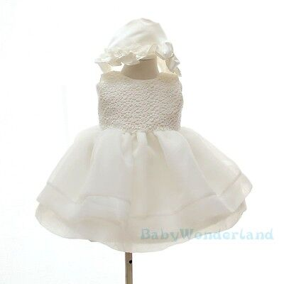 Baby Girls 2PCS Set Christening Gown Baptism Gown Lace Dresses Outfit Size 0-2Y