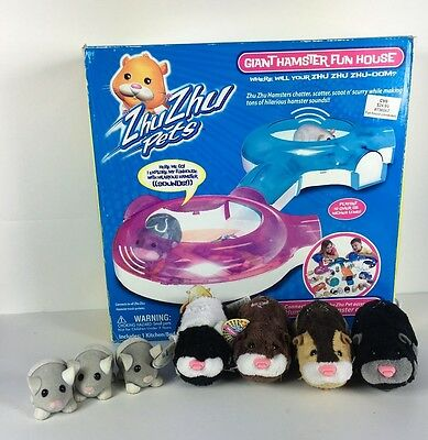 Lot of Zhu Zhu Pets- Giant Hamster Fun House with 4 Pets and 3 Mice- FOR PARTS