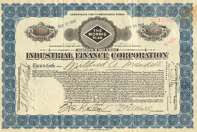 Industrial Finance Corporation > The Morris Plan > 1926 stock certificate share