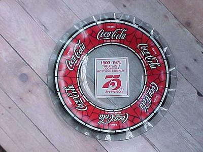 1975 Coca Cola Nut Dish 75th Anniversary Atlanta Bottling Smoked Stained Glass