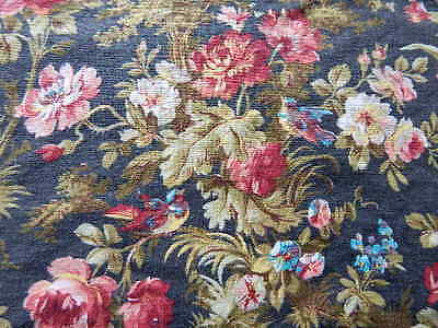 Antique Fabric Table Cover w Roses Daisies & Birds