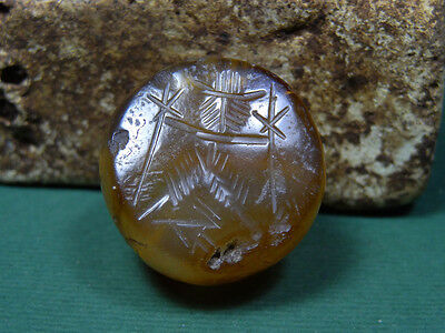 Ancient Agate Bead Engraved With Image Of Gayomard & Dog Sassanian 200-400 Ad
