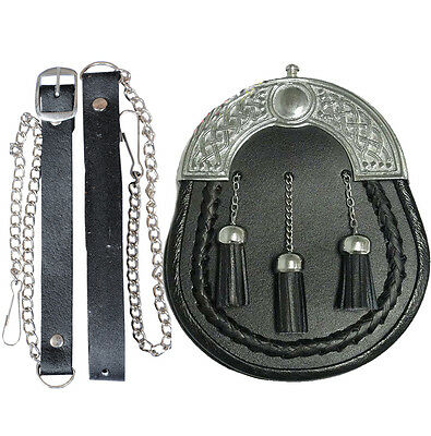 Leather Scottish Sporran & Chrome Celtic Premium Cantle  With Thistle And Belt