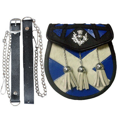 Cow Hide Sporran Leather With Saltire And Thistle Design Semi Dress Multi Colour • EUR 21,87