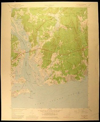Old Lyme Connecticut Long Island Sound 1958-76 USGS original Topo chart map