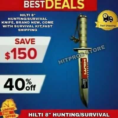 "Hilti 8"" Hunting/Survival Knife, Brand New, Come With Survival Kit,Fast Shipping"