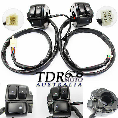 "Pair Motorcycle 1"" Handlebar Black Control Switches & Wiring Harness for Harley"