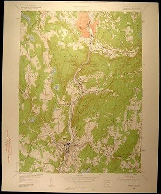 Naugatuck Connecticut Seymour Bethany 1954 vintage USGS original Topo chart map