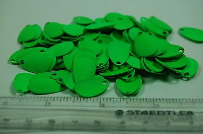Indiana style fishing blades size 1 - solid lime green (100 blades)