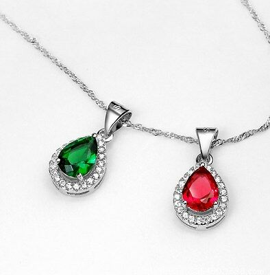 """Sterling Silver Red Ruby Jade CZ Teardrop Heart Pendant Necklace 18"""" Gift Box S2"""