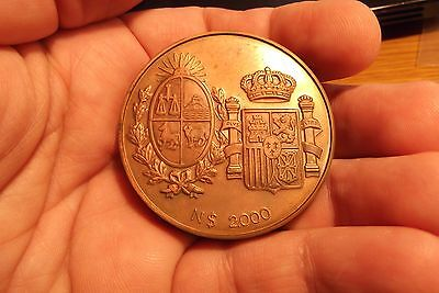 "1983 Uruguay N$2,000 ""royal Visit Pure Copper Proof Piedfort Rare Only 10 Minted"