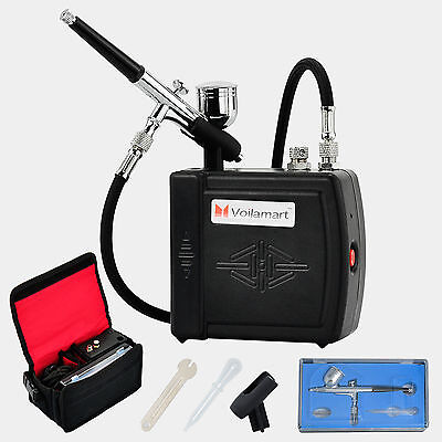 Mini Black Compressor Gravity Airbrush Gun Spray Kit Air Brush Paint Art Craft