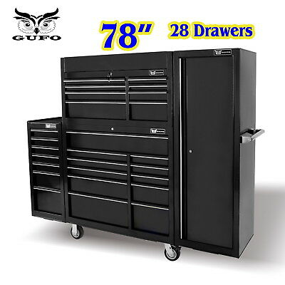 "Gufo 76"" Roller Cabinet 28 Drawer Tool Box Chest Trolley Shed Garage Storage Blk"