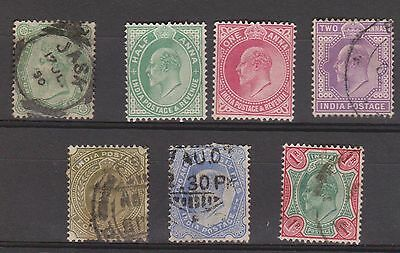 (KPI-116) 1882-1906 India mix of 7stamps ½A to4A 6pies mint & used