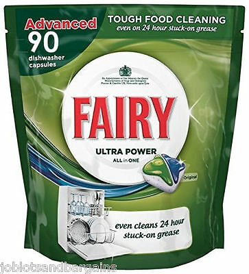 Fairy Ultra Power All in 1 Dishwasher Tablets (90 Pack) Original Capsules