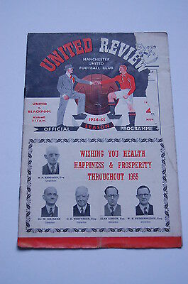 MANCHESTER UNITED v Blackpool UNITED REVIEW Football Programme 1/ 1955 1954 VGC