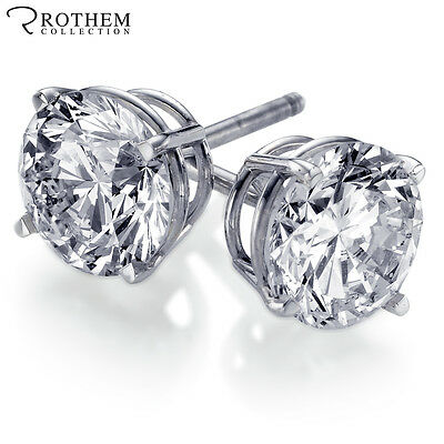 REAL 1 carat Round Diamond Stud Earrings Pierced Ears 14k White Gold Solitaire