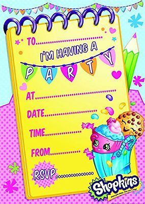 Official Shopkins Party Invites /Invitations Packs of 20 + envelopes  NEW